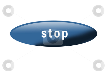 Stop Button stock photo, Blue button with the word