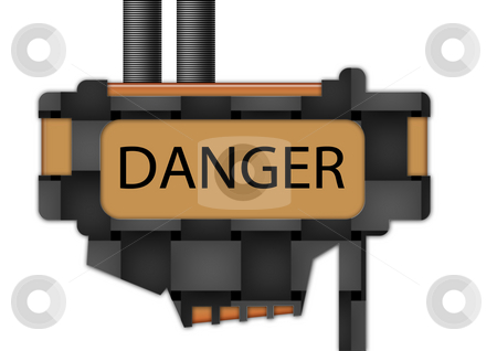 Sign - Danger stock photo, Sign spelling the word