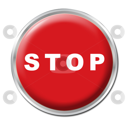 Stop Button stock photo, Red round button with the word STOP by Petr Koudelka