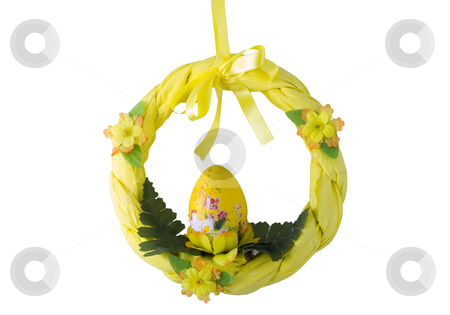 Easter Wreath stock photo, A yellow easter wreath isolated on the white background by Petr Koudelka