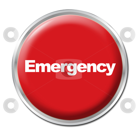 Emergency Button stock photo, A round red button with a word Emergency by Petr Koudelka