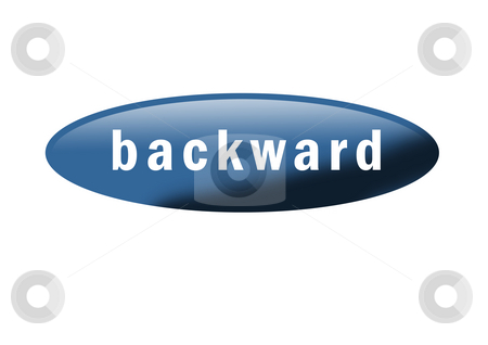 Backward Button stock photo, Blue button with the word
