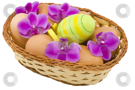 Colourful Easter Eggs stock photo, A basket of  easter eggs with flowers isolated on the white background by Petr Koudelka