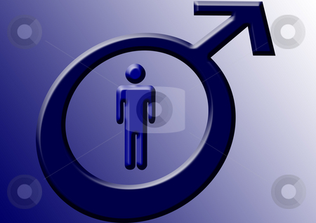 Male - Man - Manhood stock photo, Blue symbols of a man on the blue and white background by Petr Koudelka