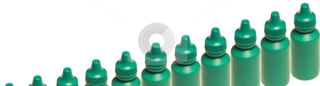 Green Phials stock photo, A row of green phials isolated on the white background by Petr Koudelka