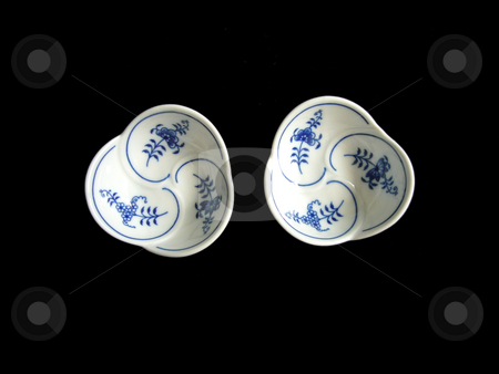 Bowls Trefoil stock photo, China decorated in the so called