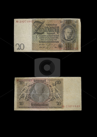 Reichmark 20 stock photo, This money was used in