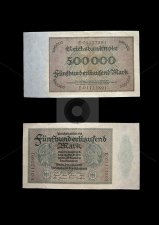 Reichmark 500.000 stock photo, This money was used in