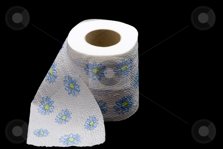 Flowery Toilet Paper stock photo, Roll of toilet paper with flowerws by Petr Koudelka