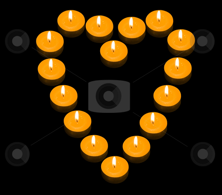 Heart of Candles stock photo, A group of burning candles forming a fiery heart on the black background by Petr Koudelka