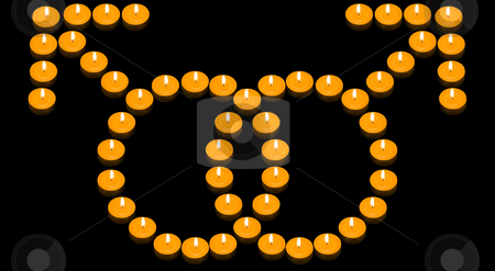 Fiery Gay Symbol stock photo, A group of burning candles forming a fiery gay symbol by Petr Koudelka