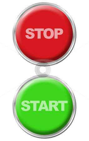 Button Set stock photo, Set of a green start button and a red stop button by Petr Koudelka