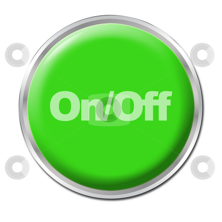 On/Off Button stock photo, Green round button with the symbol On/Off by Petr Koudelka