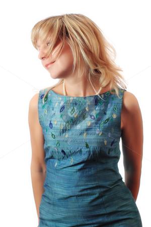 Dreamy woman in green dress  stock photo, Dreamy woman in green dress by Andrey Yanevich