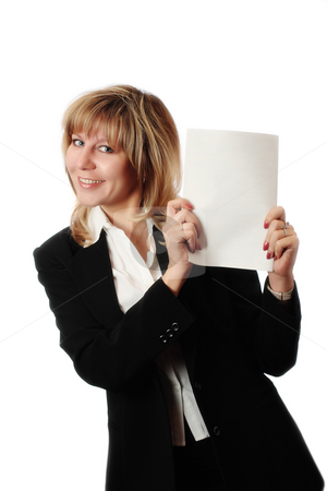 Standing woman holding brochure stock photo, Cheerful standing woman in black and white office clothing holding white brochure. Room for text, or your own message. Brochure copyspace with embedded photoshop path. by Andrey Yanevich
