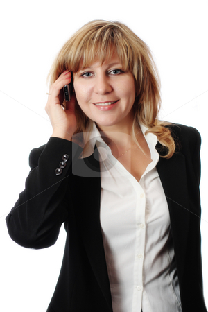 Successful smiling woman talking on mobile phone stock photo, Successful smiling woman talking on mobile phone. by Andrey Yanevich