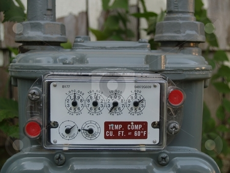 Gas meter stock photo, Newly installed gas meter by Michelle Bergkamp