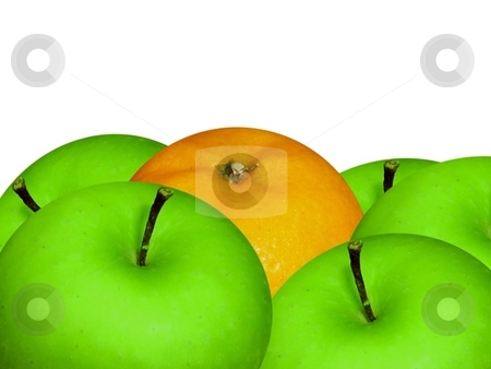 Orange and apples closeup on white stock photo,  by ZaKaRiA- MaStErPiEcE
