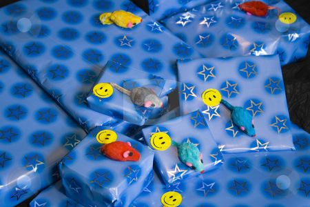 A pile of presents stock photo, A pile of wrapped decorated presents. by Petr Koudelka