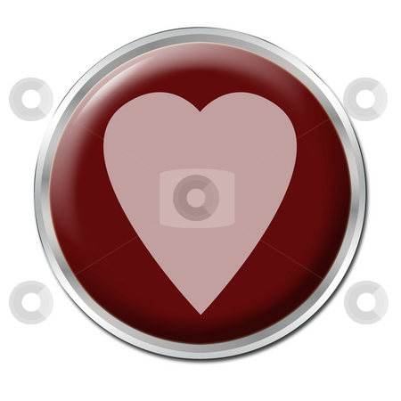 Button To Start Your Love stock photo, Red button with the red heart on it by Petr Koudelka