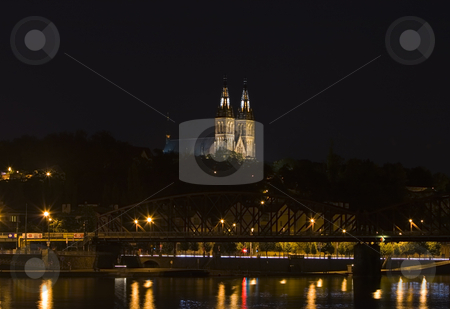 Prague by Night stock photo, A church in Prague by night - night city by Petr Koudelka