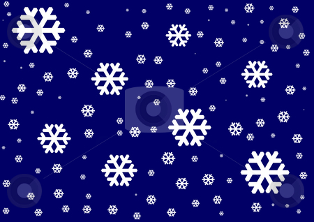 Background with Snowflakes stock photo, White snowflakes on the dark blue background by Petr Koudelka