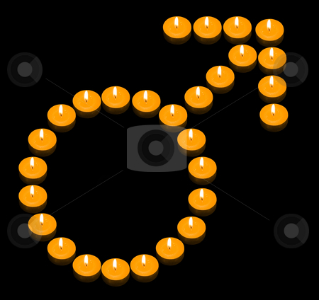 Fiery Man Symbol stock photo, A group of burning candles forming a fiery man symbol by Petr Koudelka