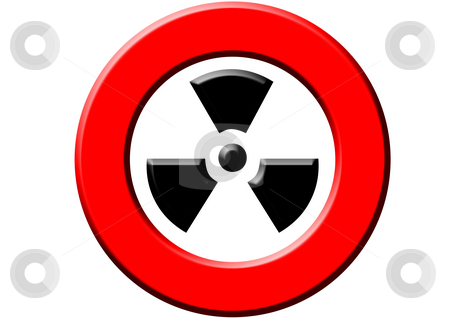 Attention - Radioactivity stock photo, A red sign meaning