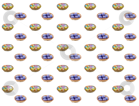 Easter Background stock photo, Baskets of colourful easter eggs suitable as a background by Petr Koudelka