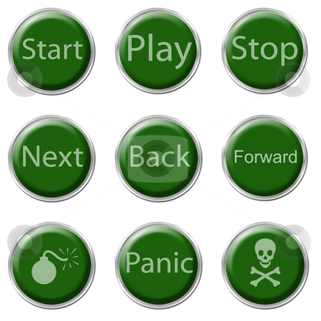 Button Set stock photo, A set of nine green buttons on the white background by Petr Koudelka