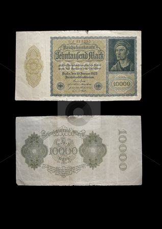 Reichmark 10.000 stock photo, This money was used in