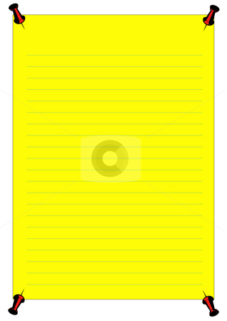 Yellow Notice stock photo, A yellow notice with blue lines and a red pins by Petr Koudelka