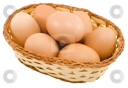 Basket of Eggs stock photo, A basket of eggs isolated on the white background by Petr Koudelka