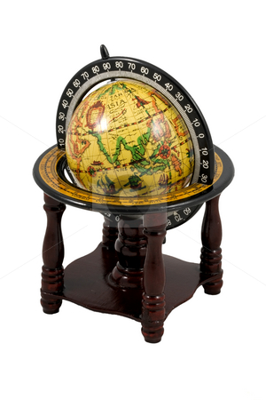 Old Globe stock photo, An old globe isolated on the white background by Petr Koudelka