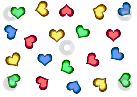 Background with Hearts stock photo, A lot of colourful hearts on the white background by Petr Koudelka