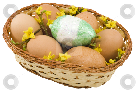 Colourful Easter Eggs stock photo, A basket of colourful easter eggs isolated on the white background by Petr Koudelka