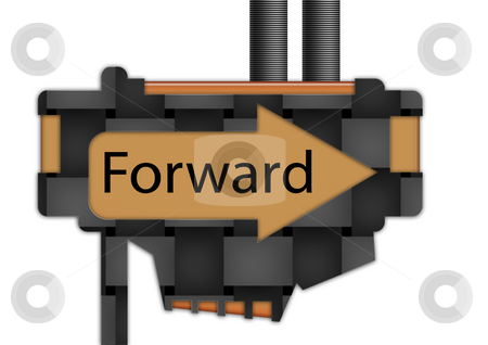 Sign - arrow - Forward stock photo, Arrow sign pointing spelling the word