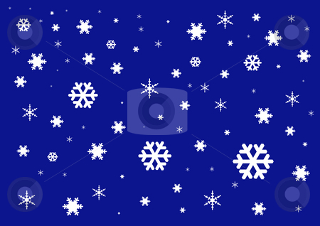 Christmas Background stock photo, White snowflakes on the dark blue background by Petr Koudelka