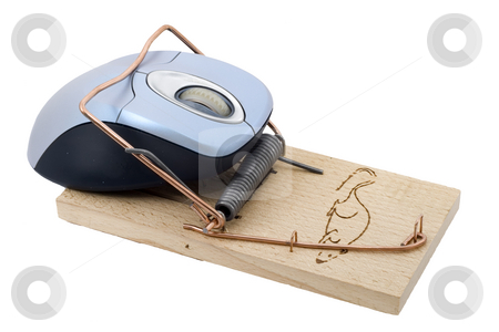 Trapped Mouse stock photo, A computer mouse caught in a mousetrap by Petr Koudelka