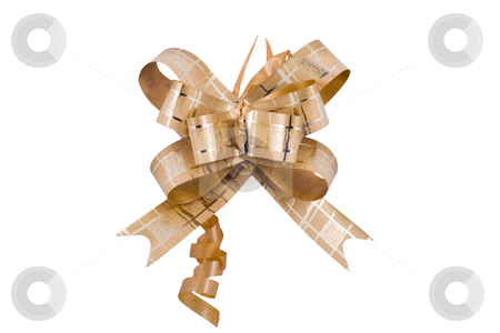 Golden Ribbon stock photo, A golden ribbon  isolated on the white background by Petr Koudelka