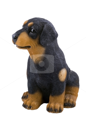 Toy Doggie stock photo, A small plastic toy doggie isolated on the white background by Petr Koudelka