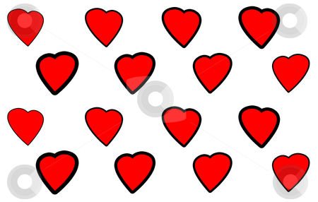 Background with hearts stock photo, Perspective red hearts on the white background by Petr Koudelka