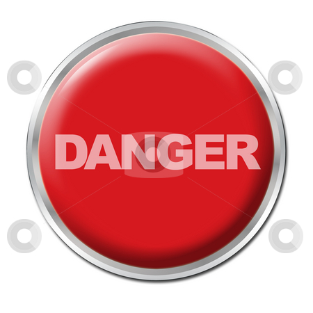 Panic Button stock photo, Red round button with the word DANGER by Petr Koudelka