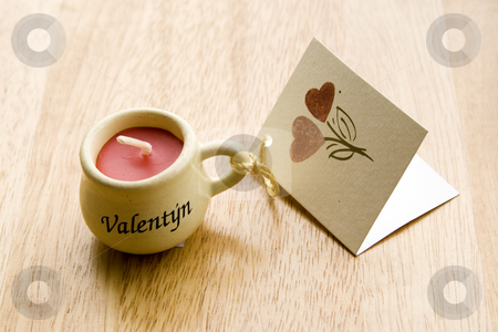 Valentine Candle stock photo, Valentine Candle with a greeting-card - close-up by Petr Koudelka