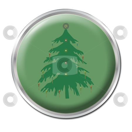 Button To Start Christmas stock photo, A green button with a christmas tree by Petr Koudelka