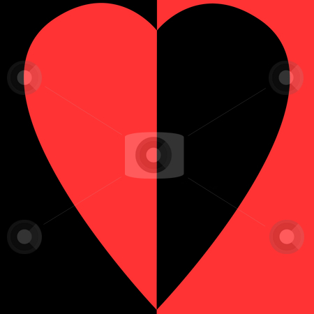 Bisected Heart stock photo, Bisected red and black heart on bisected white and red background by Petr Koudelka