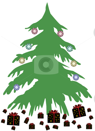 Christmas Background stock photo, A christmas tree with a few presents - background by Petr Koudelka