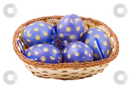 Decorated Easter Eggs stock photo, A basket of blue easter eggs isolated on the white background by Petr Koudelka