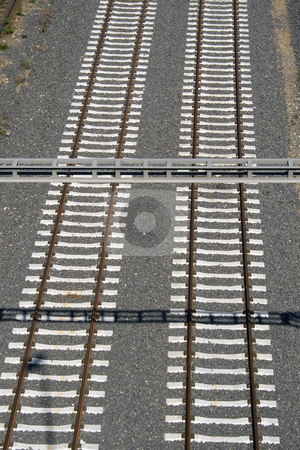 Track stock photo, A couple of railway tracks taken from the air by Petr Koudelka