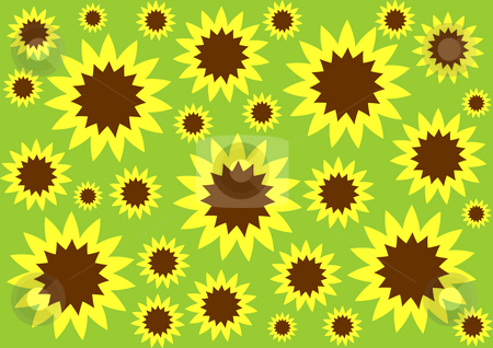 Floral Background stock photo, Yellow and brown sunflowers on the green background by Petr Koudelka